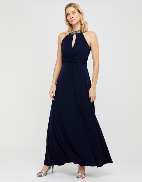 Izzie Embellished Jersey Maxi Dress Blue, Blue (NAVY), large
