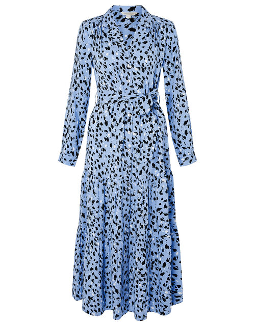 Animal Print Midi Shirt Dress, Blue (BLUE), large