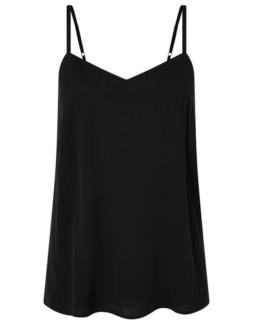 Mae Pleat V-neck Cami Top, Black (BLACK), large
