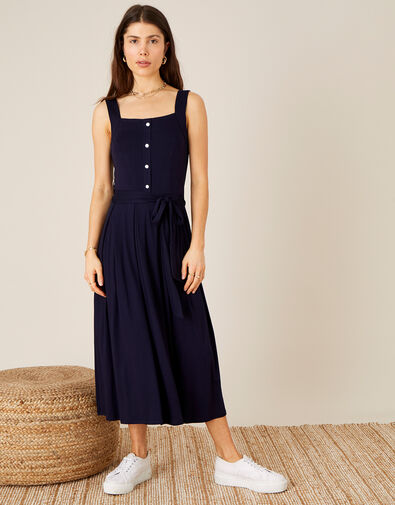 Button Sundress with LENZING™ ECOVERO™ Blue, Blue (NAVY), large