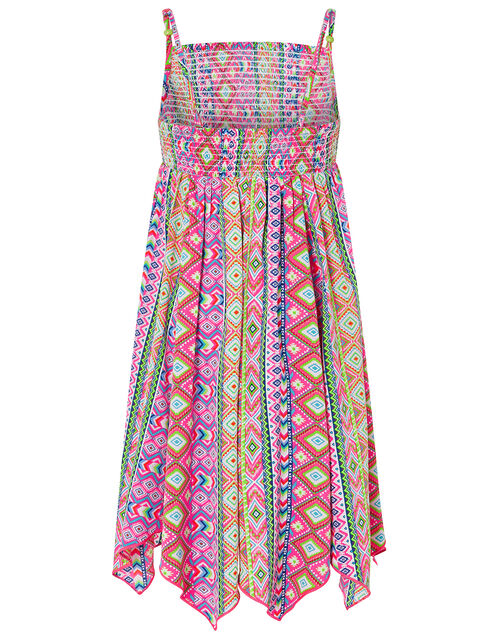 Xena Printed Hanky Hem Dress in Recycled Polyester, Pink (PINK), large