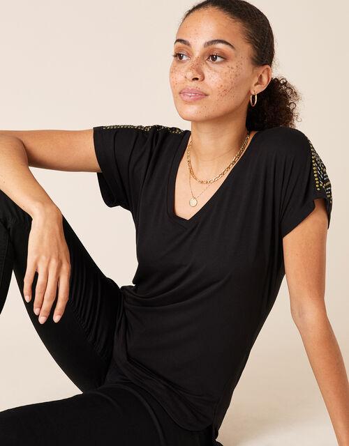 Heat-Seal Gem Jersey T-Shirt, Black (BLACK), large