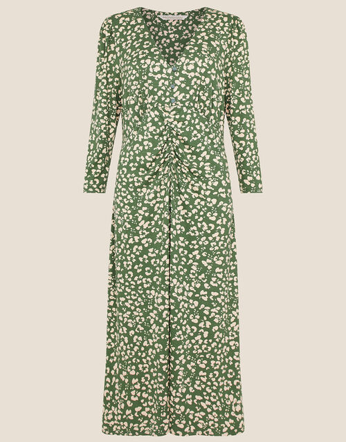 Animal Print Jersey Midi Dress, Green (KHAKI), large