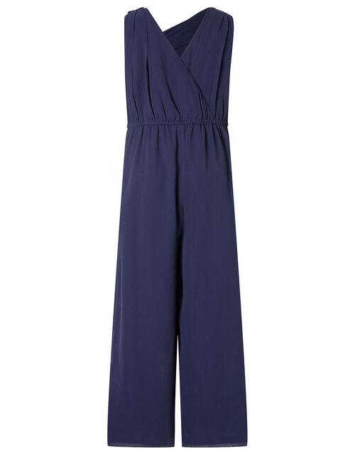 One-Shoulder Sequin Jumpsuit, Blue (NAVY), large