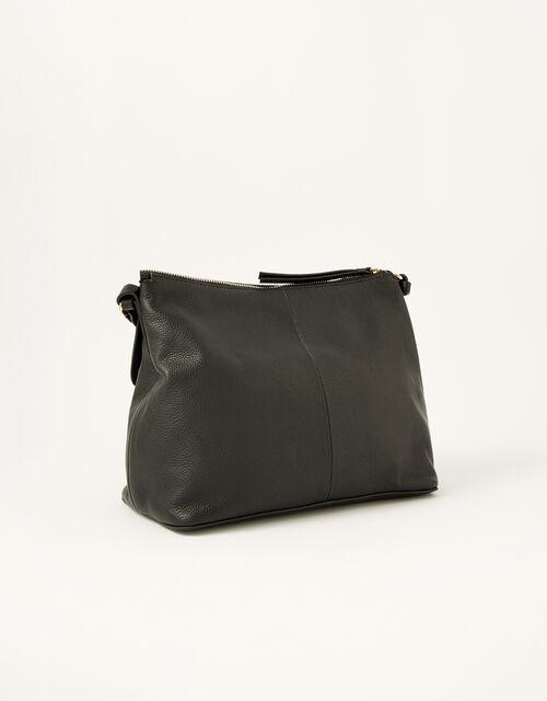 Ring Detail Leather Shoulder Bag, , large