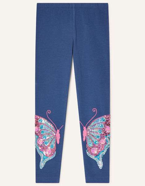 Sequin Butterfly Leggings Blue, Blue (BLUE), large