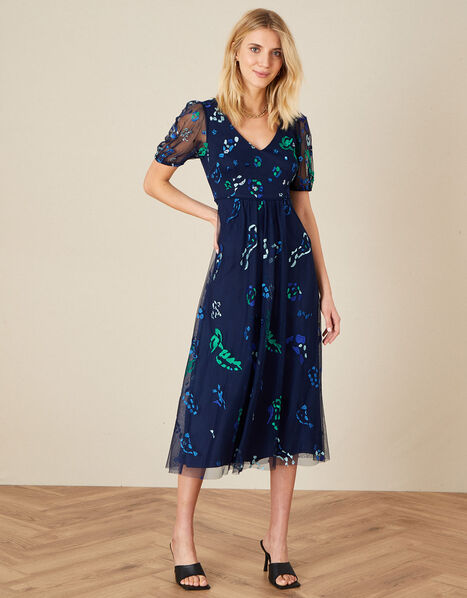 Ana Animal Embroidered Midi Dress Blue, Blue (NAVY), large