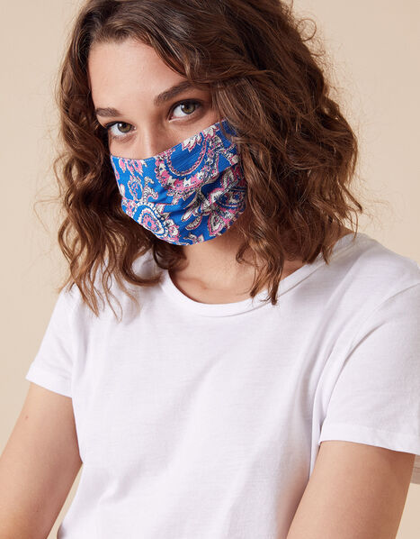 Paisley Floral Pleated Face Mask in Pure Cotton, , large