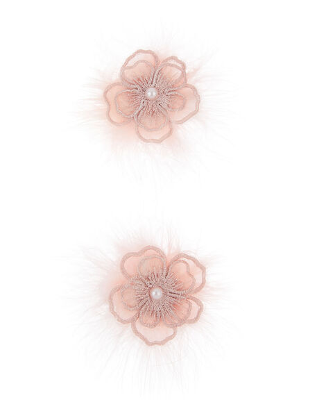 Fluffy Lacey Flower Hair Clips Set , , large