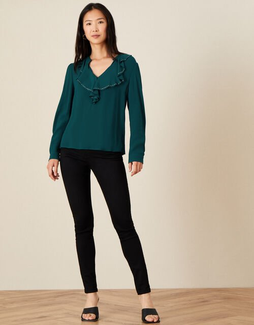 Studded Frill Neck Blouse, Teal (TEAL), large