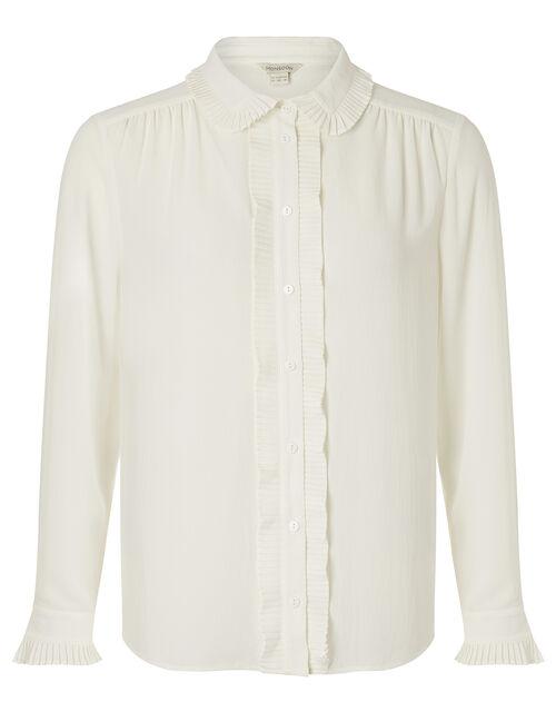 Pleated Collar Blouse, Ivory (IVORY), large