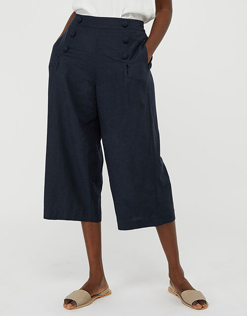Eureka Culottes in Pure Linen, Blue (NAVY), large