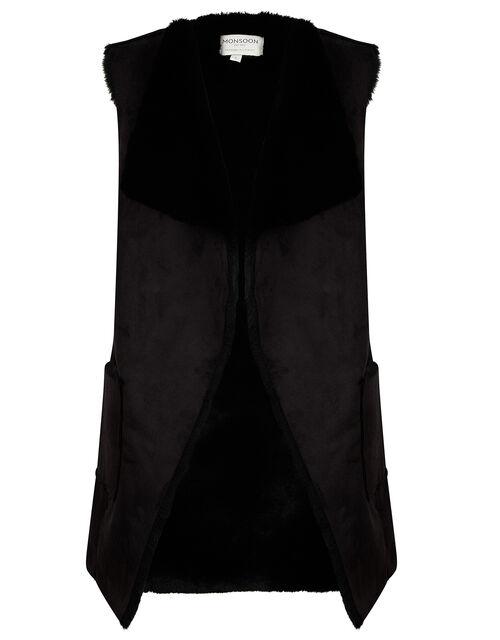 Suki Suedette Waistcoat, Black (BLACK), large