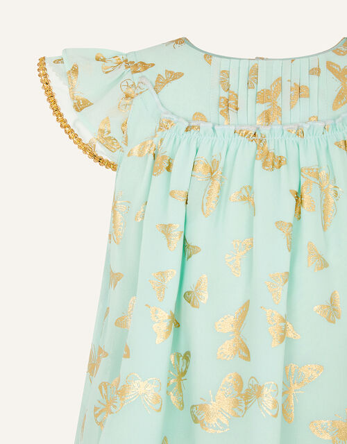Baby Foil Butterfly Print Dress, Green (GREEN), large