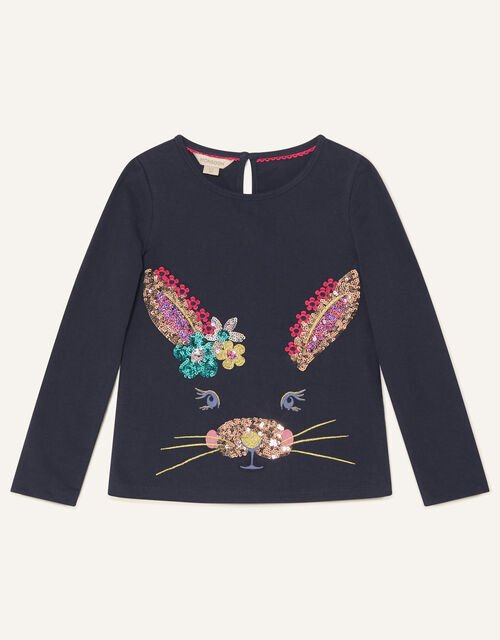 Bunny Long Sleeve Top, Blue (NAVY), large