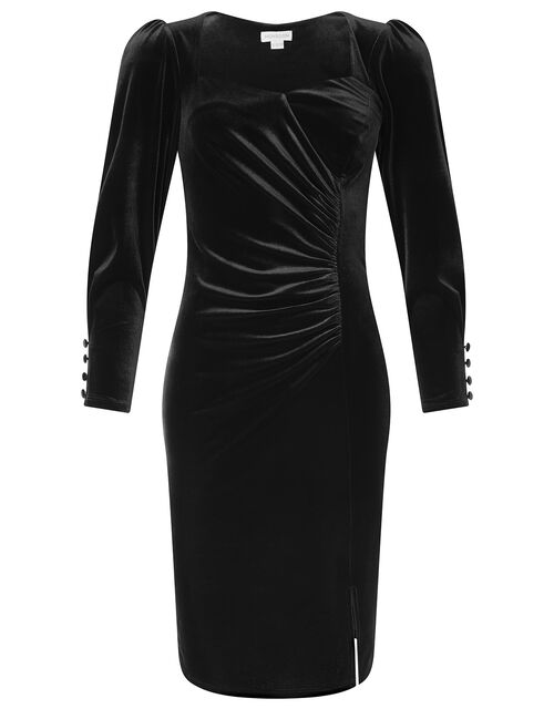 Emily Stretch Velvet Shift Dress, Black (BLACK), large