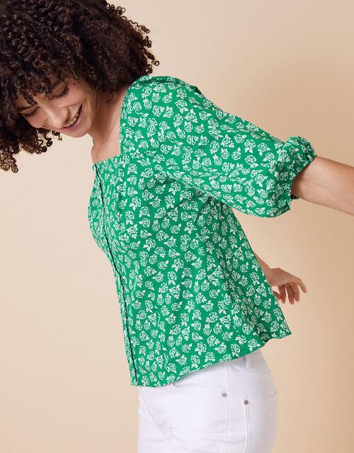 Rose Print Balloon Sleeve Top in Organic Cotton, Green (GREEN), large
