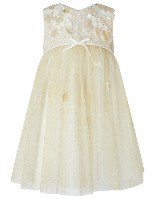 Baby Lilly Lace and Glitter Dress, Gold (GOLD), large