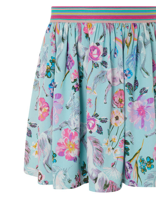 Armelle Unicorn Print Skirt in Recycled Polyester, Blue (AQUA), large