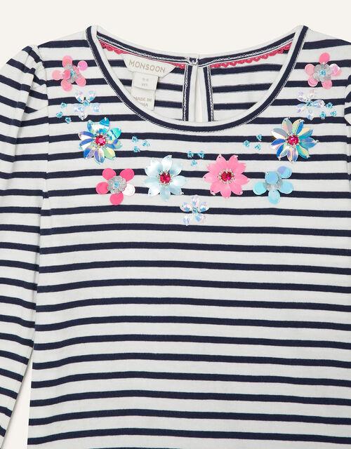 Striped Gem Neckline Top, Blue (NAVY), large