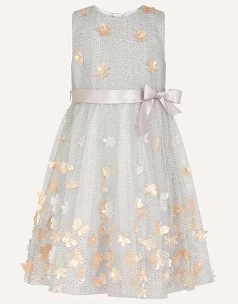 3D Petal Glitter Dress Grey, Grey (GREY), large