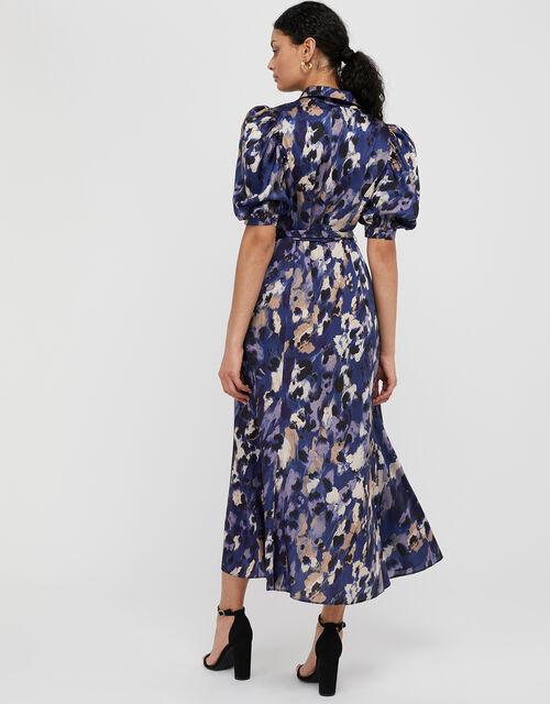 Libby Animal Print Satin Shirt Dress, Blue (BLUE), large