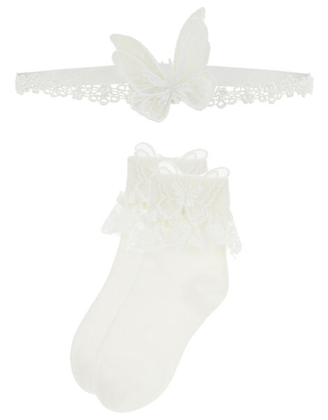 Baby Butterfly Sock and Bando Set White, White (WHITE), large