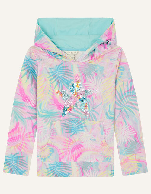 Sequin Star Palm Print Hoody, Blue (TURQUOISE), large