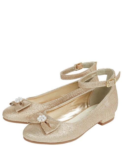 Rebecca Embellished Bow Shoes, Gold (GOLD), large