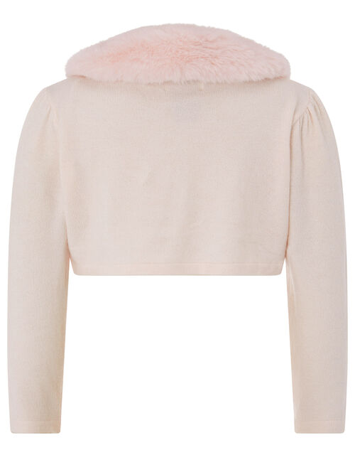 Baby Fluffy Collar Soft Knit Cardigan, Pink (PINK), large
