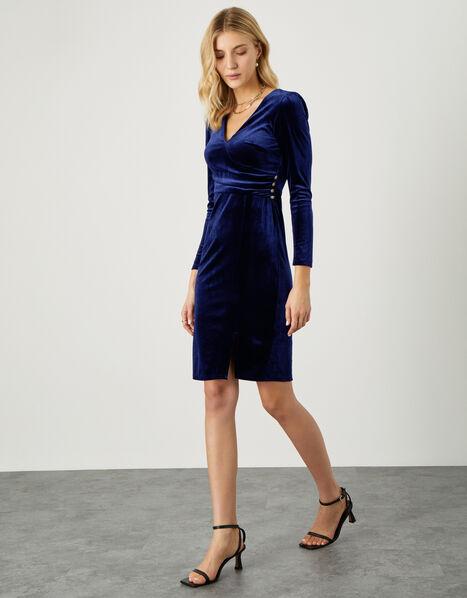 Shelly Plain Velvet Dress Blue, Blue (BLUE), large