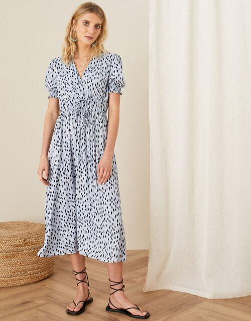 Printed Ruched Midi Dress, Blue (BLUE), large