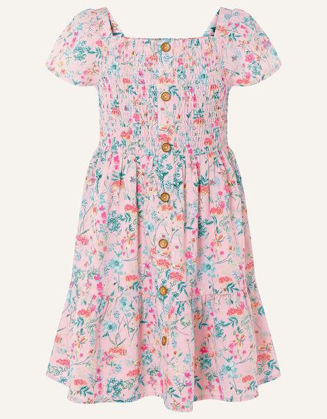 Floral Print Shirred Dress Pink, Pink (PINK), large