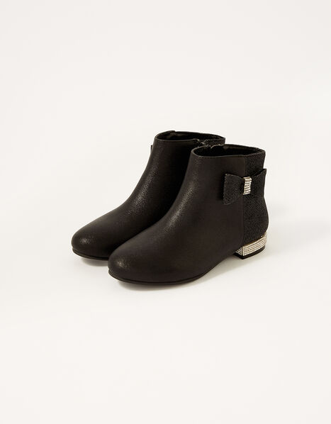 Diamante Heel Shimmer Boots Black, Black (BLACK), large