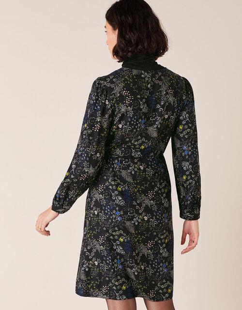 Printed Long-Sleeve Short Dress, Black (BLACK), large
