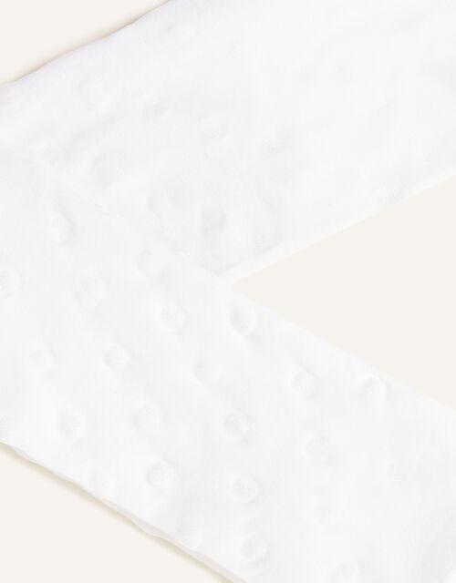 Baby Glitter Heart Nylon Tights, White (WHITE), large