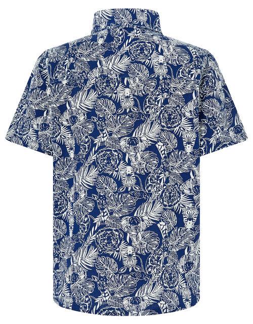 George Animal Print Short Sleeve Shirt, Blue (NAVY), large