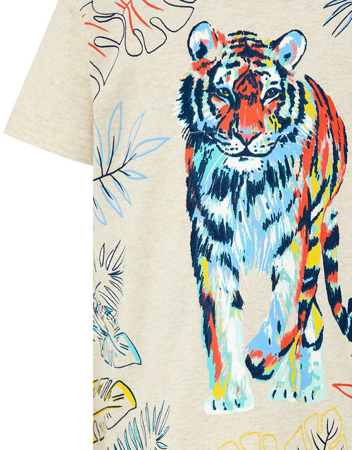 Tiger Printed T-Shirt, Camel (OATMEAL), large
