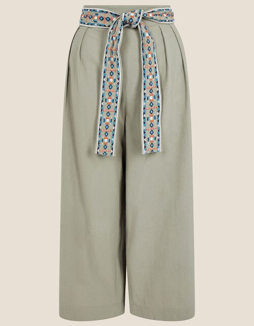 Embroidered Belt Wide Leg Trousers, Green (KHAKI), large
