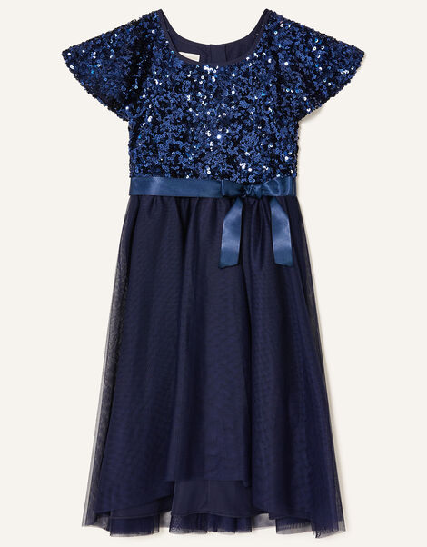 Truth Sequin Flutter Sleeve Dress Blue, Blue (NAVY), large