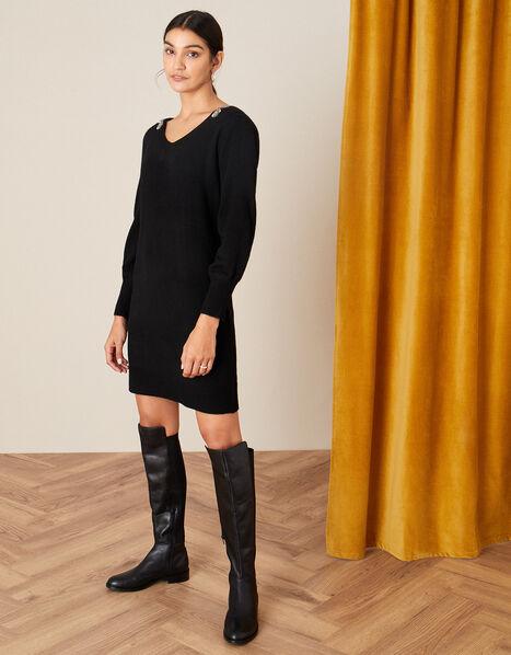 Embellished V-Back Knit Dress Black, Black (BLACK), large