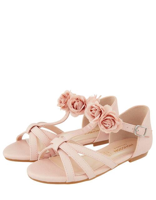 Ariah Flower Corsage Sandal, Pink (PALE PINK), large