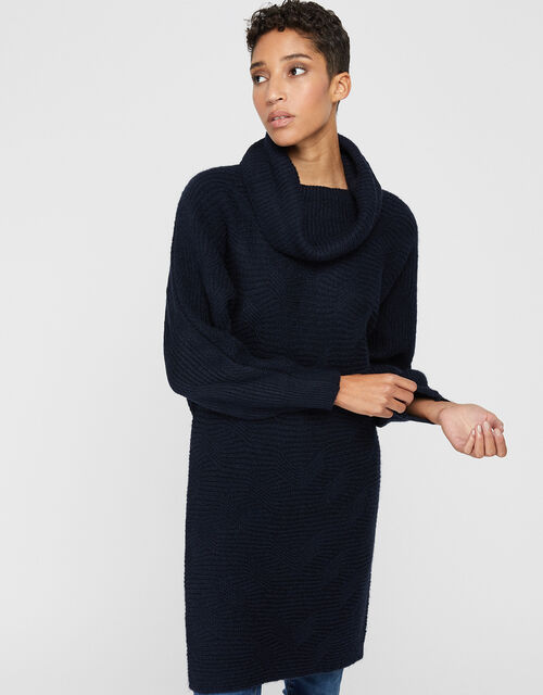 Connie Cowl Neck Knit Dress, Navy, large