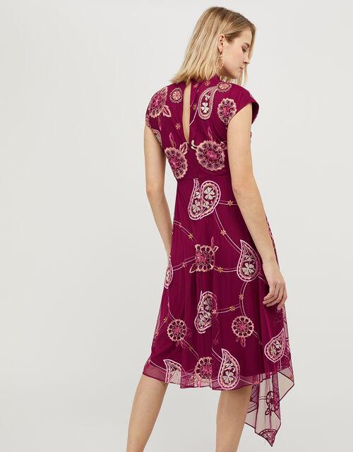 Annelisse Embellished Floral Dress, Red (BERRY), large