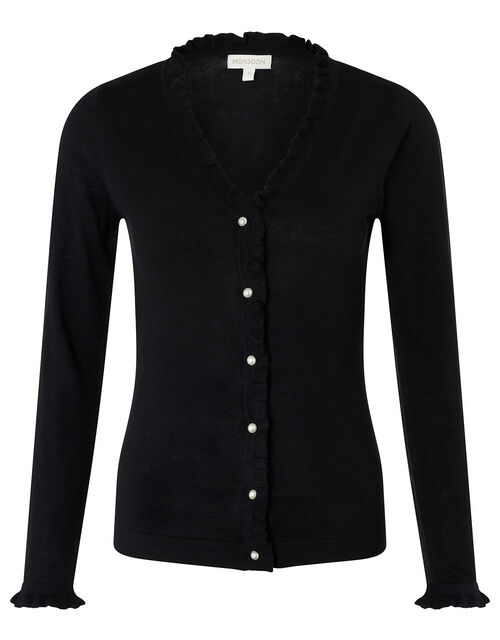 Frilled Knit Cardigan with Faux Pearl Buttons, Black (BLACK), large