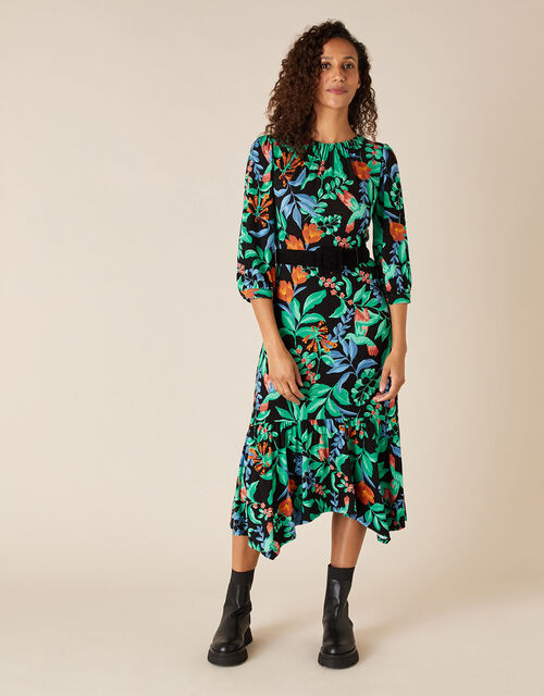 Leaf Print Hanky Hem Dress with LENZING™ ECOVERO™, Green (GREEN), large