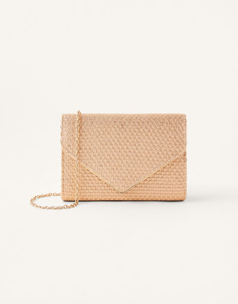 Woven Metallic Envelope Clutch, , large