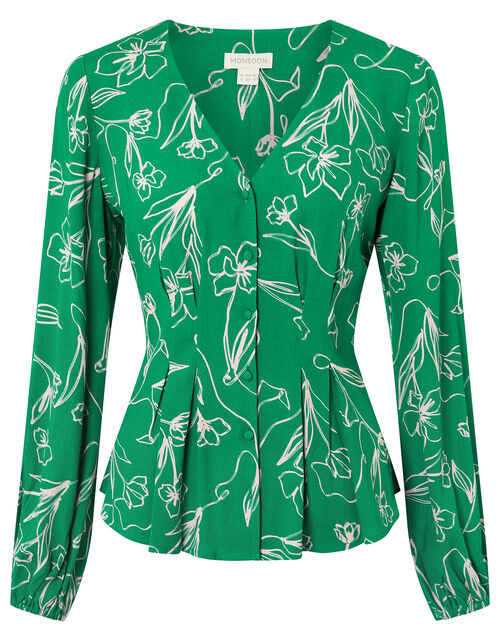 Jean Floral Fitted Blouse in Sustainable Viscose and LENZING™ ECOVERO™, Green (GREEN), large