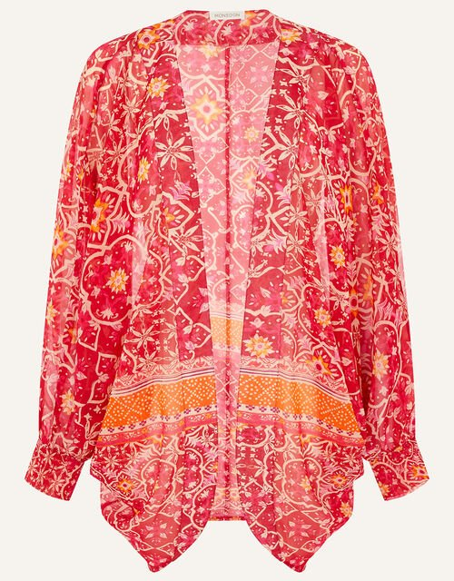 Border Print Cocoon Cover-Up, , large