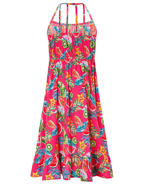 Inna Fruit Print Dress in Recycled Polyester, Pink (PINK), large